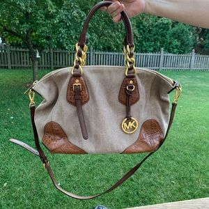 Michael Kors brown crocodile satchel handbag